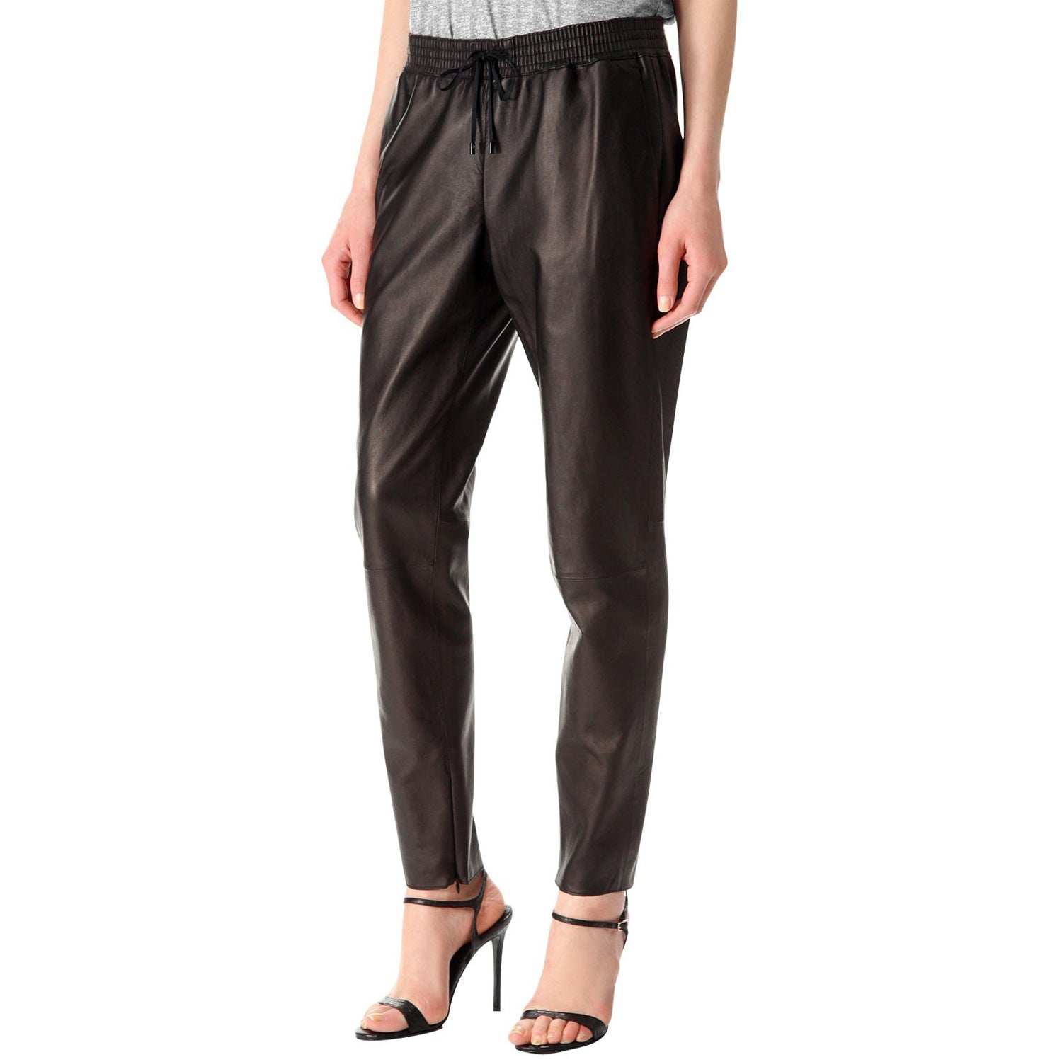 Brown leather pants with elastic waist (style #5) - Lusso Leather - 1