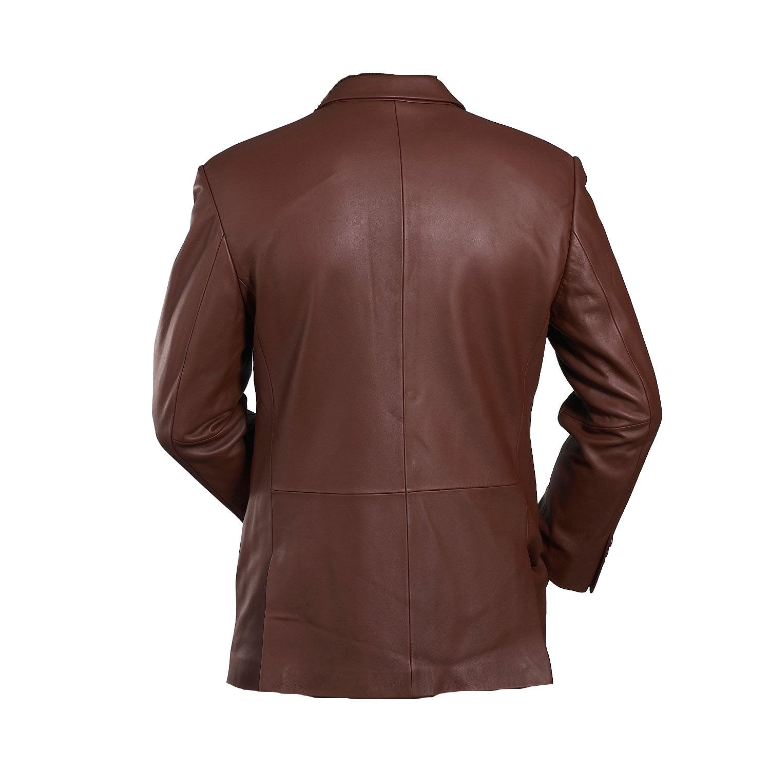 Brown leather blazer mens