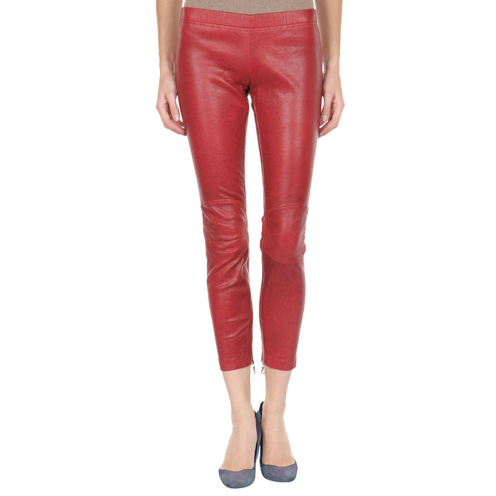 Red Yoga leather pants (style #22) - Lusso Leather - 1