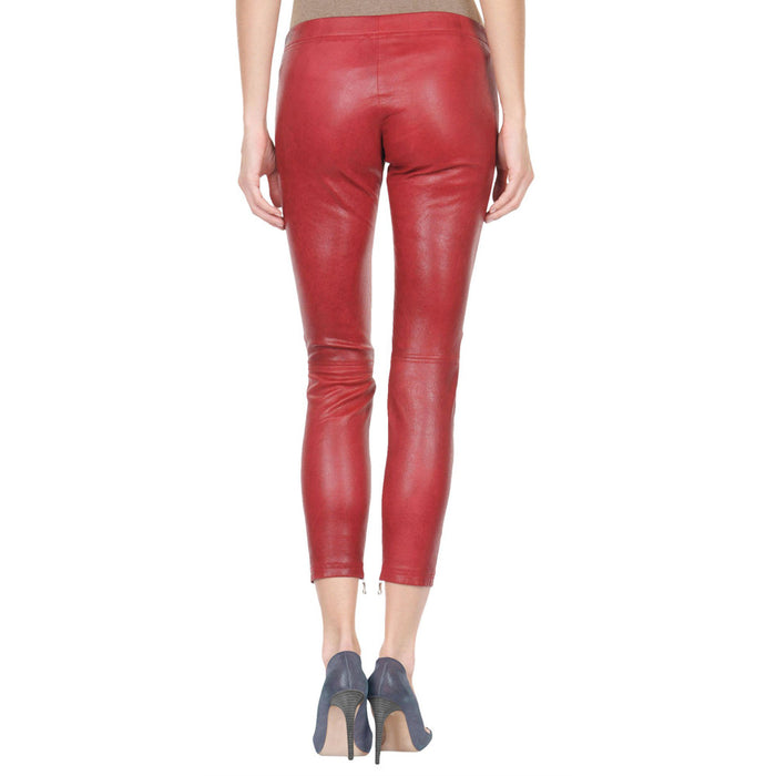 Red Yoga leather pants (style #22) - Lusso Leather - 2
