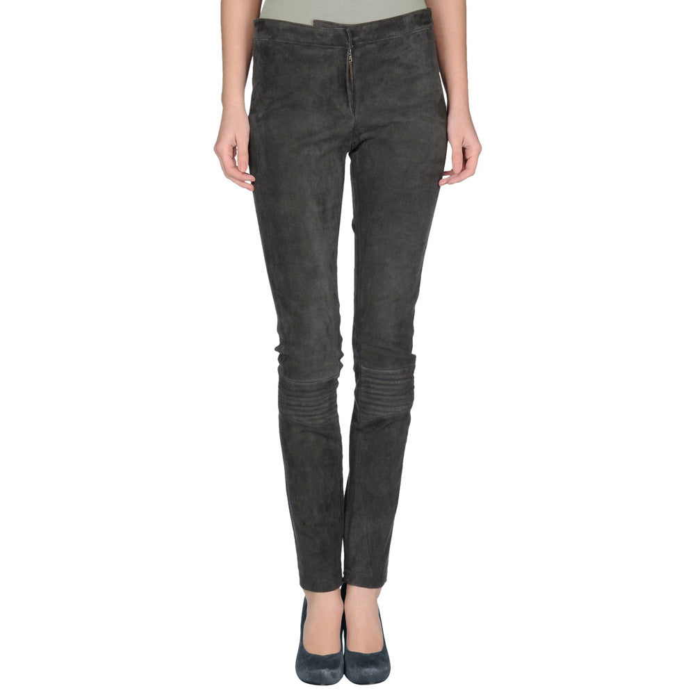 Grey Suede leather pants - Lusso Leather - 1