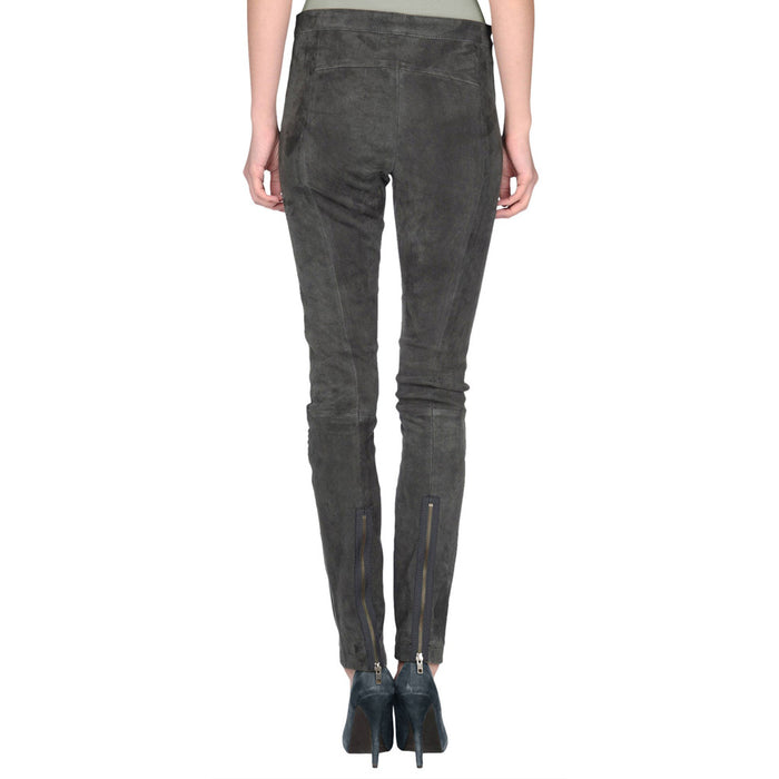 Grey Suede leather pants - Lusso Leather - 2