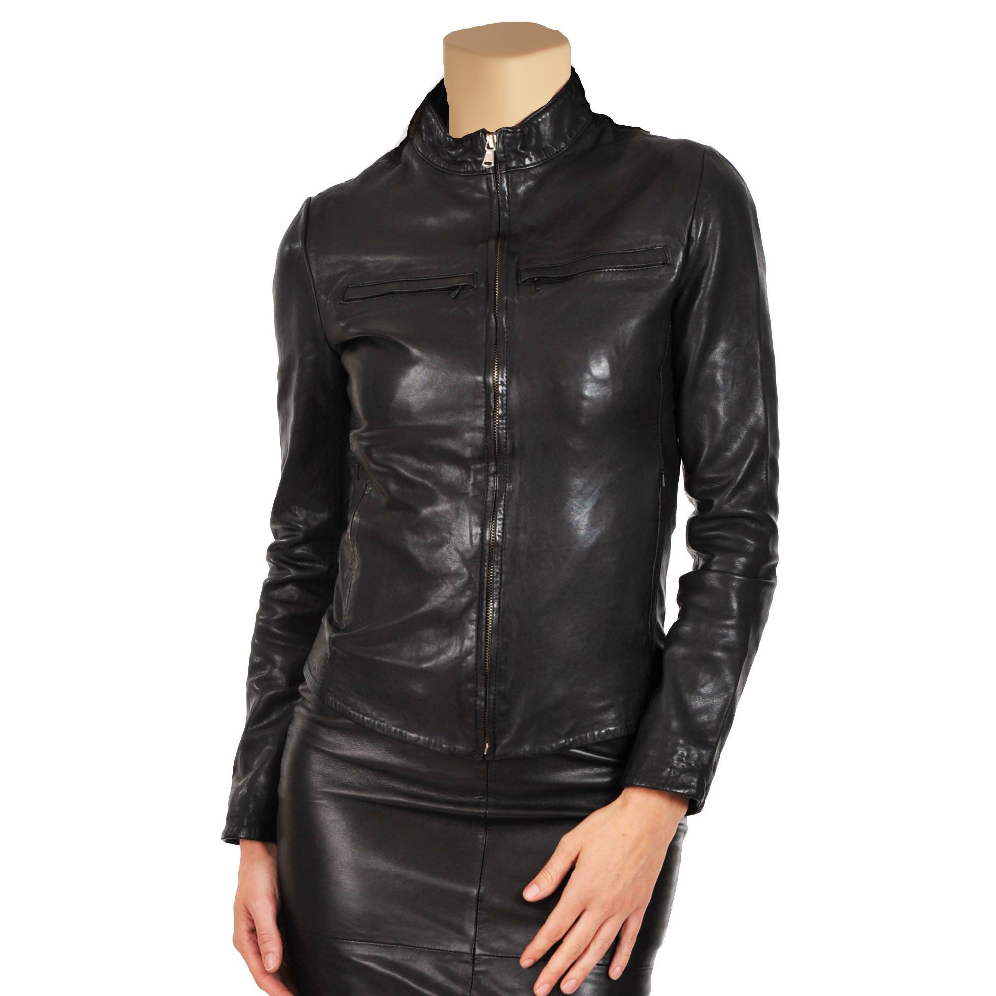 Women's slim fit leather jacket - Lusso Leather - 1