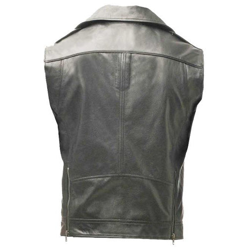 Plain biker leather vest - Lusso Leather - 2