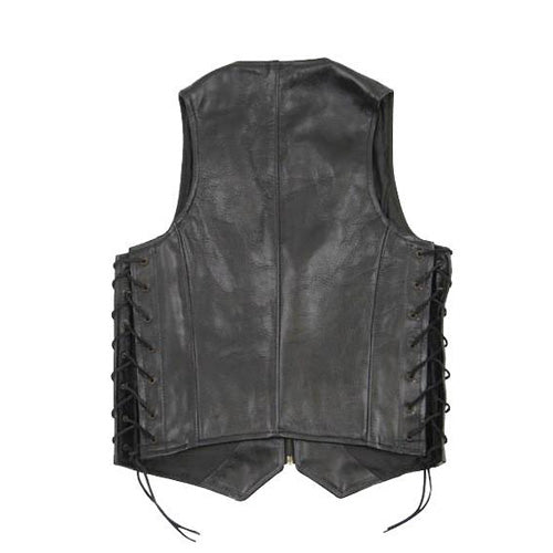 Casual black laced leather vest - Lusso Leather - 2