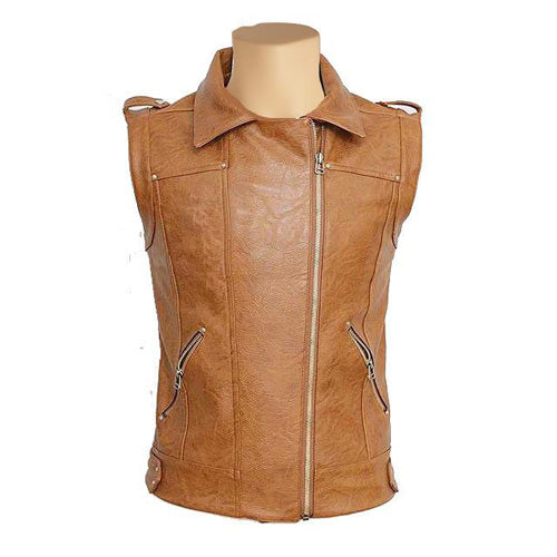 Tan brown leather vest with spread collars - Lusso Leather