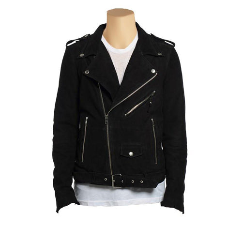 Biker style suede leather jacket with waist belt - Lusso Leather - 1