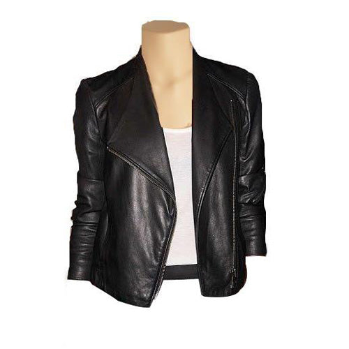Black double breasted minimalist leather jacket - Lusso Leather