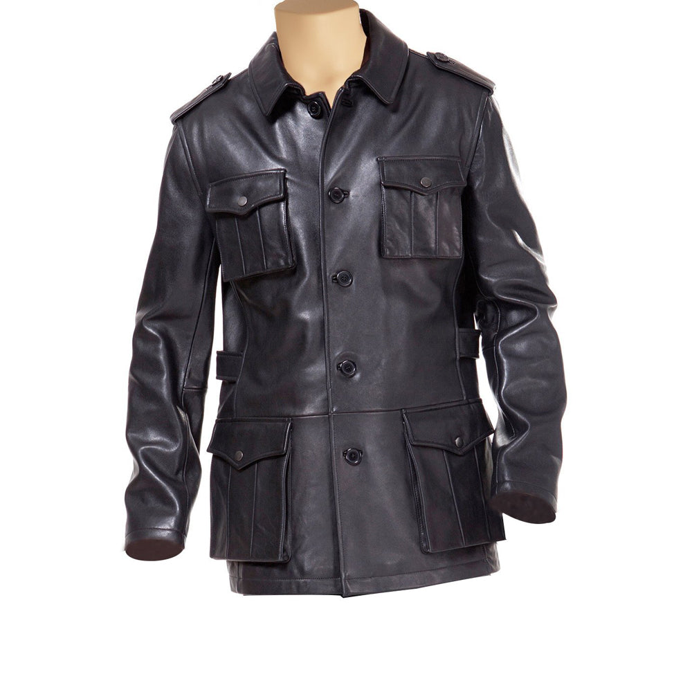Black leather buttoned up coat - Lusso Leather - 1