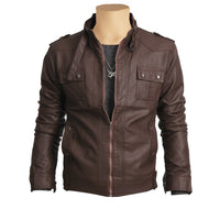 Brown leather jacket with collar belt - Lusso Leather - 1