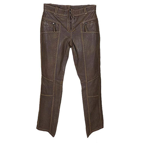 Women's Cassey Brown Leather Trousers