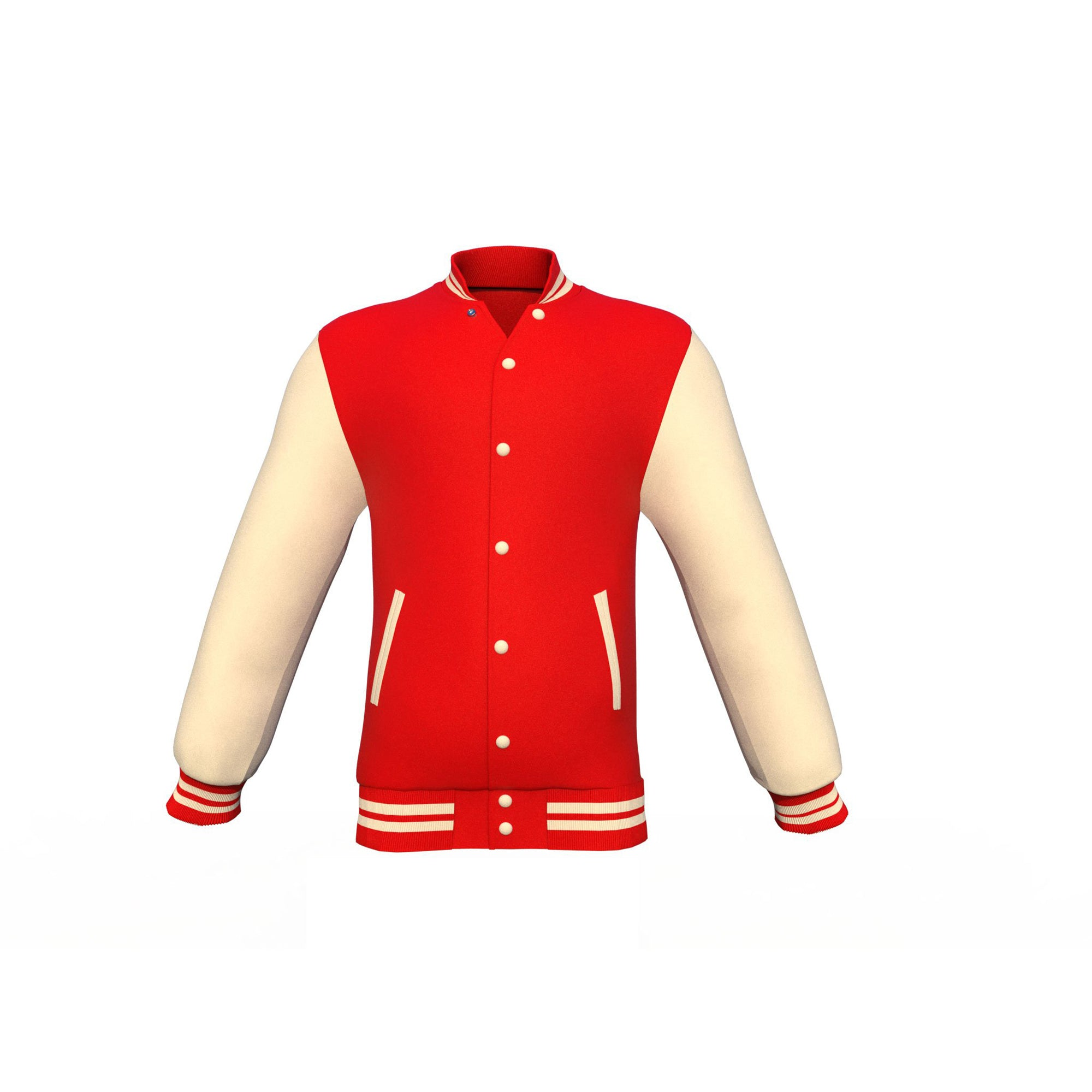 Red Varsity Letterman Jacket with Cream Sleeves