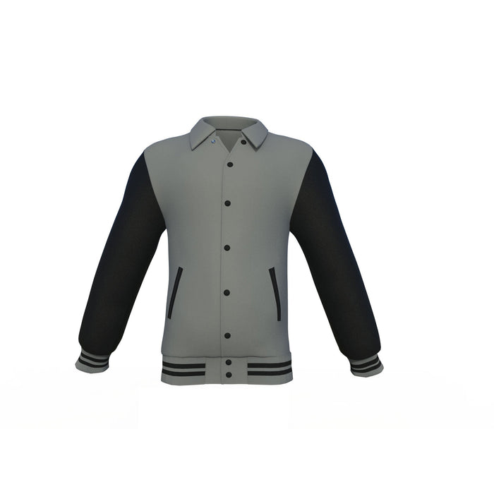 Grey Varsity Letterman Jacket with Black Sleeves