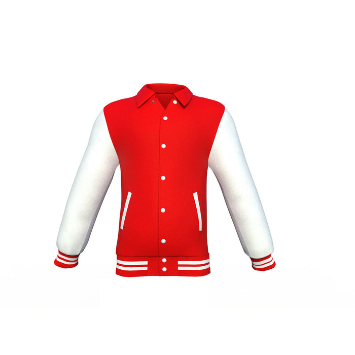 Red Varsity Letterman Jacket with White Sleeves