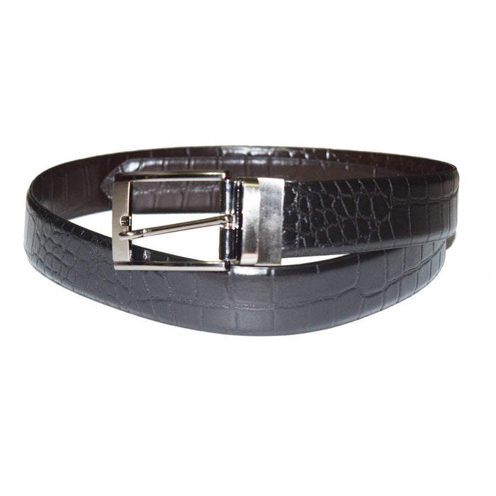 Crocodile print black and brown reversible leather belt - Lusso Leather - 1