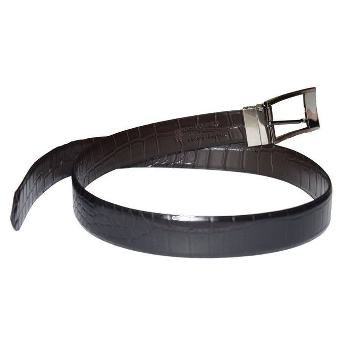 Crocodile print black and brown reversible leather belt - Lusso Leather - 2
