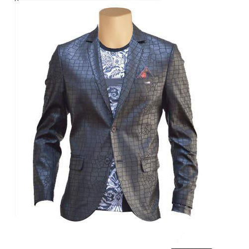 Croc print black leather blazer - Lusso Leather