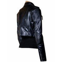 Martyna's black crop biker leather jacket with waist belt