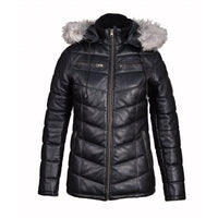 Snow's Winter Puffer Leather jacket with fur trimmed hoodie