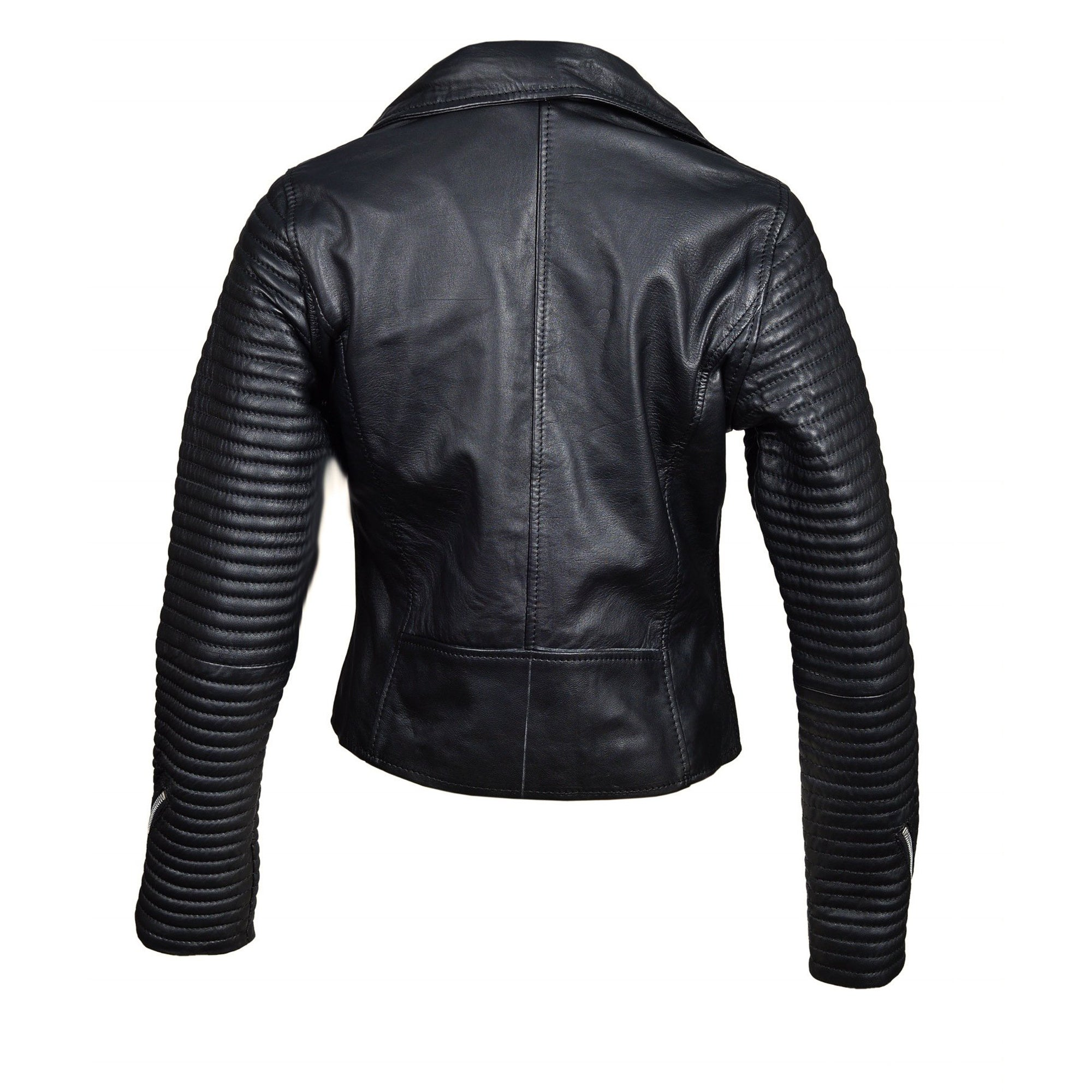 Nyah's biker style jacket with Ribbed sleeves
