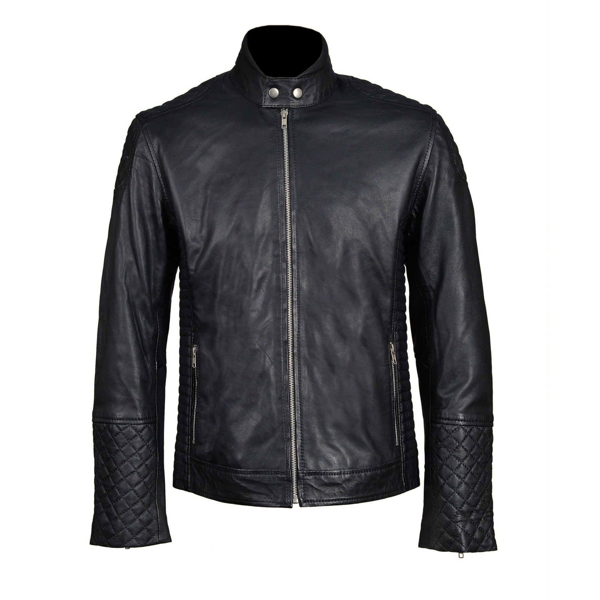 Tyrons moto style leather jacket with quilted detailing