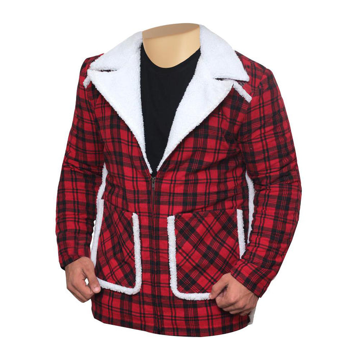 Ryan Reynold's Red and Black  Checkered Jacket with Faux Shearling