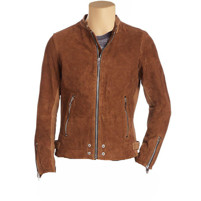 Brown Suede cafe racer jacket