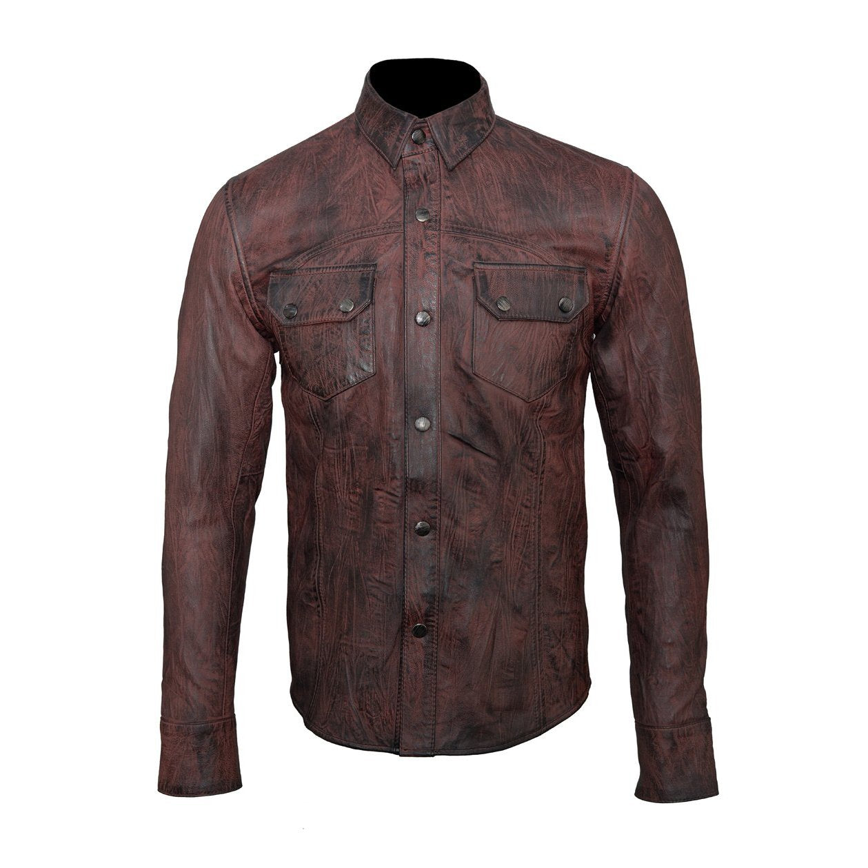 Distressed brown Leather Shirt