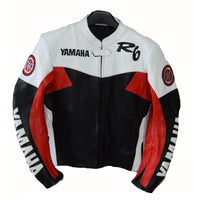 Red and white yamaha r6 motorycle jacket with armor protection - Lusso Leather - 1