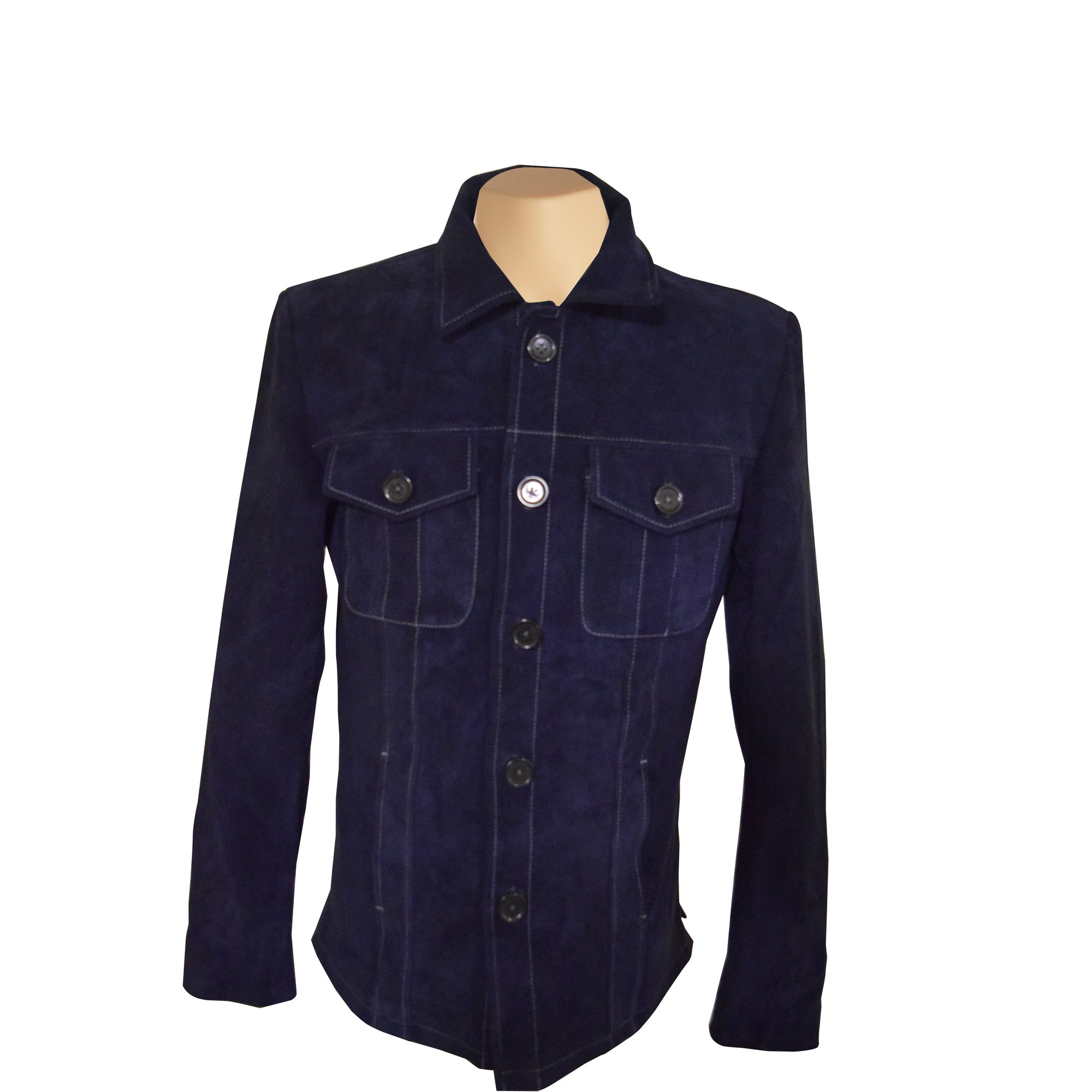 Neive's blue suede shirt