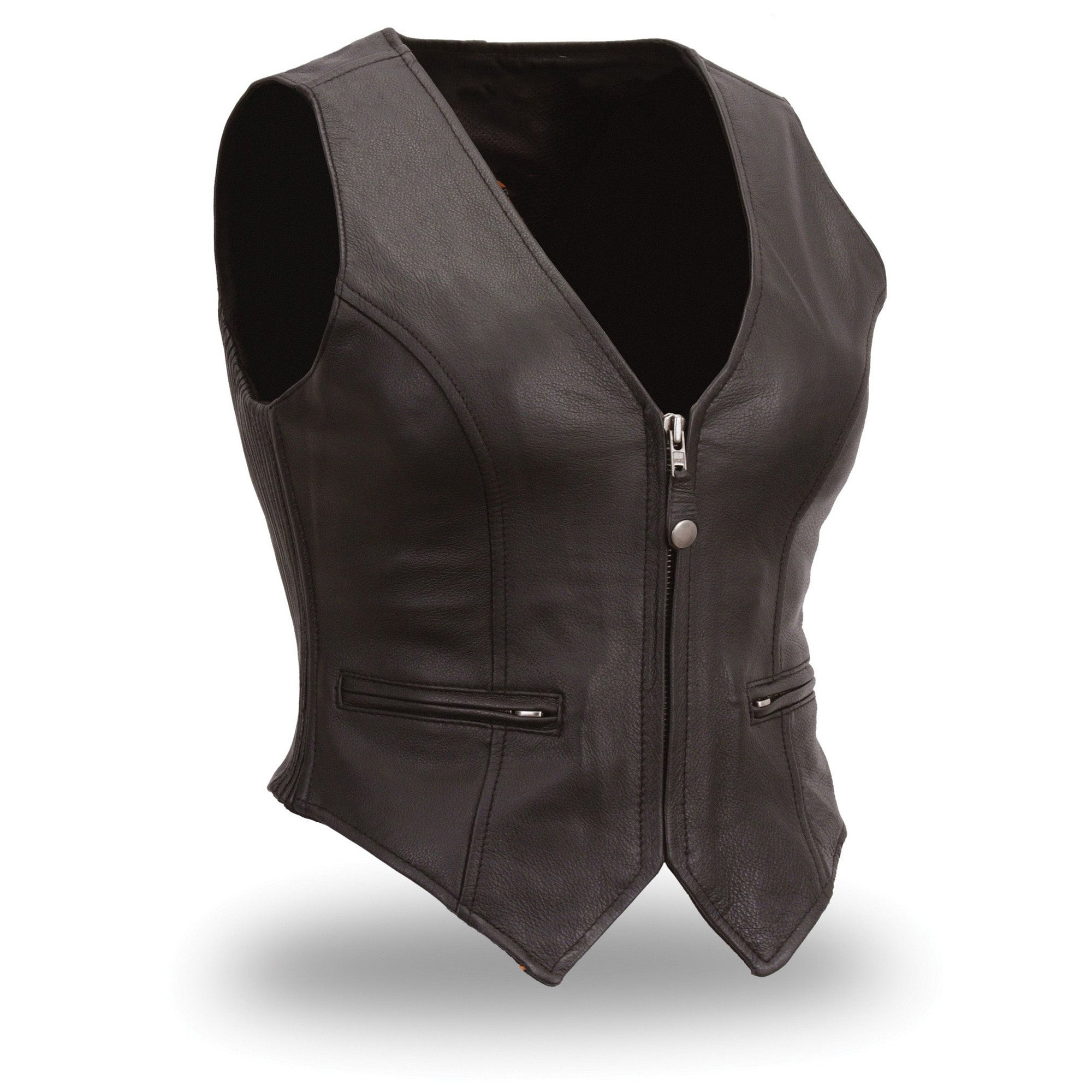 Women's casual leather vest - Lusso Leather