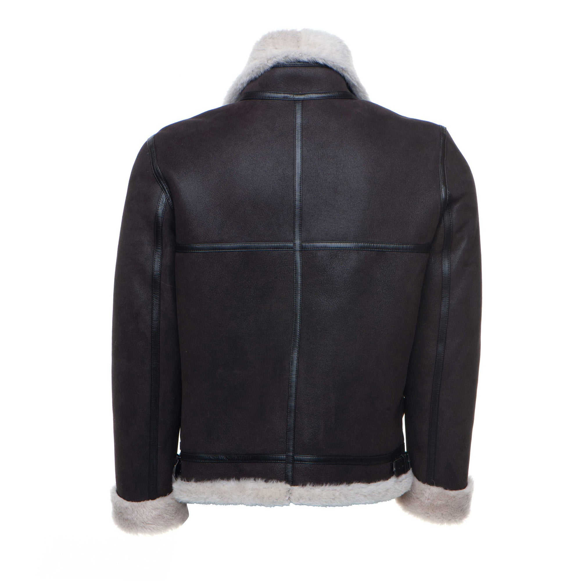 Hampton's Classic Brown Bomber Aviator Shearling Jacket with collar belt