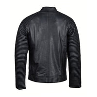 Haworths moto style leather jacket with patterned sleeves
