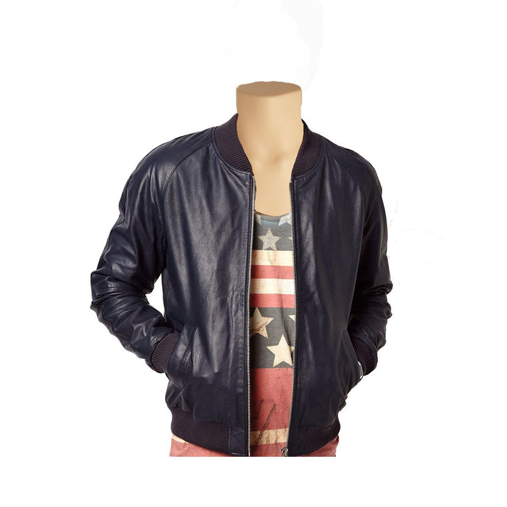 Navy blue bomber style leather jacket - Lusso Leather - 1