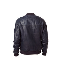 Navy blue bomber style leather jacket - Lusso Leather - 2