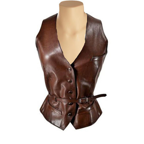 tan brown leather vest women