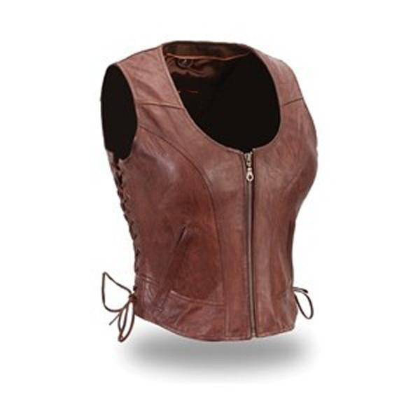 Tan brown laced leather vest - Lusso Leather