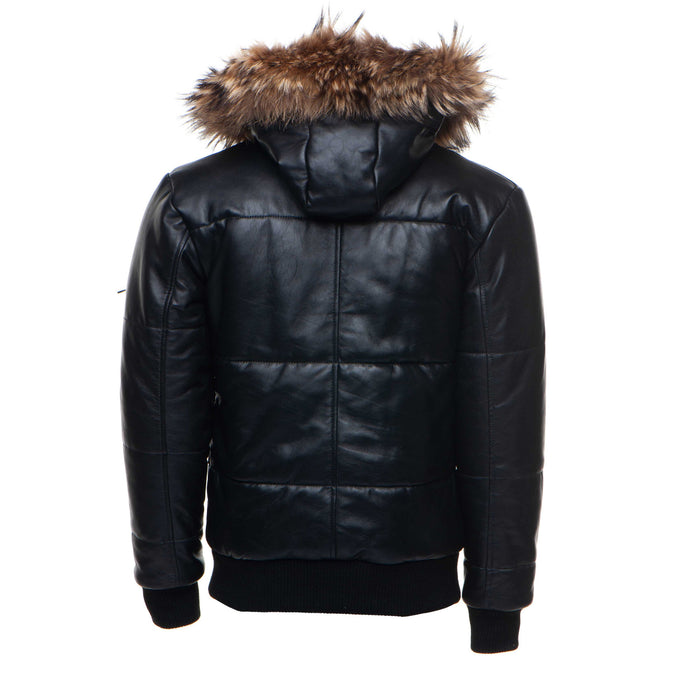 Traynor's Puffer Winter Leather Jacket with ribbed cuffs and waist and fur trim hoodie