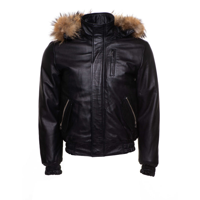 Castillos bomber Winter Leather Jacket with Real fox fur hoodie