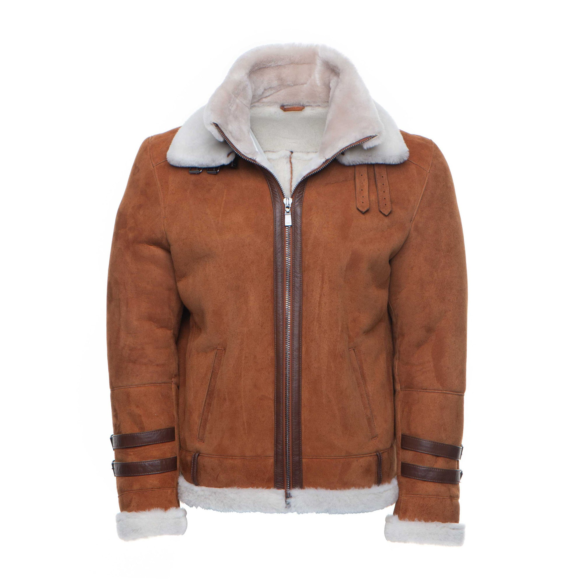 Hagan's Tan Aviator bomber Suede shearling jacket