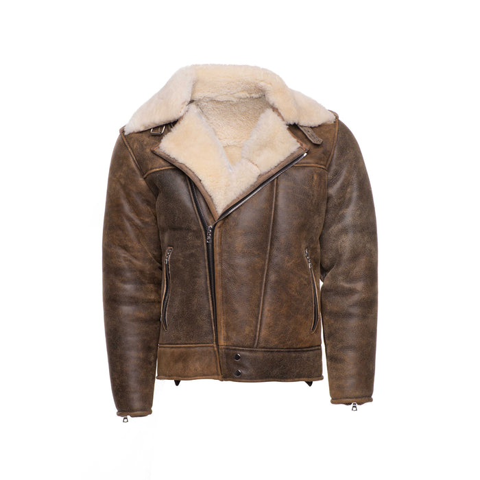 Carter's Distressed Biker bomber shearling jacket with notch lapels