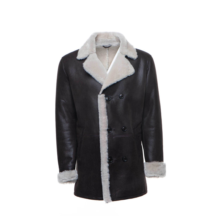 Jozef's 3/4 length black shearling buttoned coat