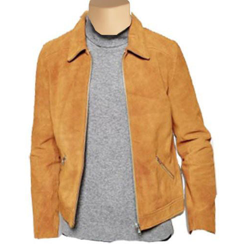 Collared Suede leather jacket - Lusso Leather - 1