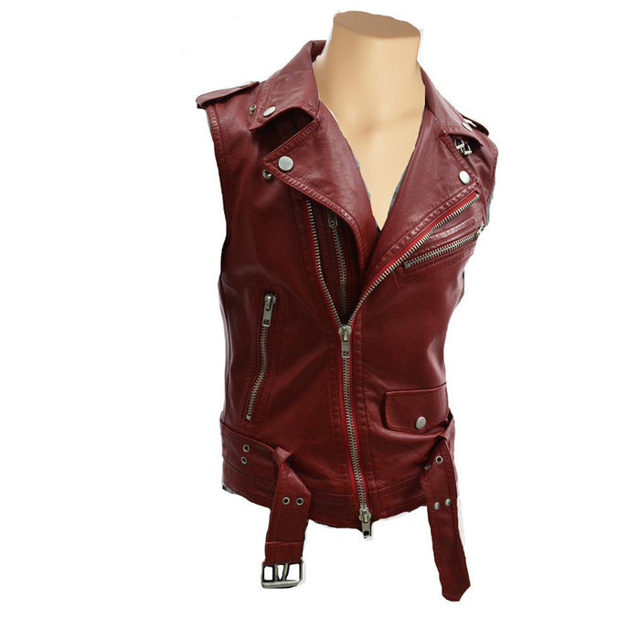 Red biker leather vest - Lusso Leather