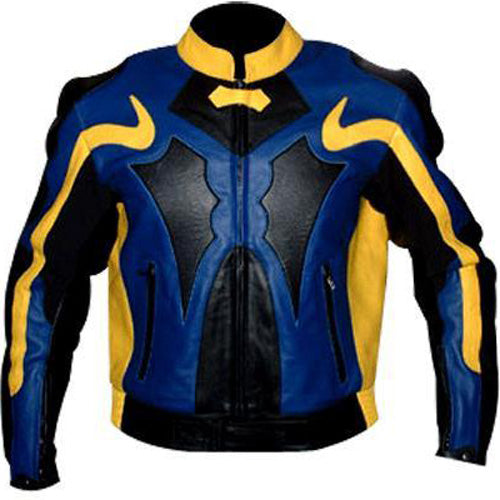 Yellow and blue motorycle jacket with armor protection - Lusso Leather