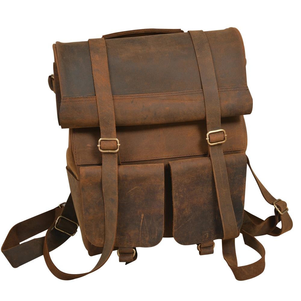 Parsons Roll Top Vintage Oiled Cowhide Backpack