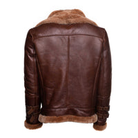 Phan's Brown Aviator bomber shearling jacket with a waist belt