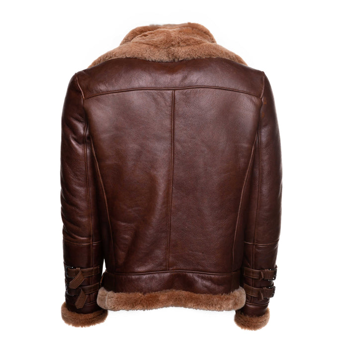Phan's Distressed Brown Aviator bomber shearling jacket with a waist belt