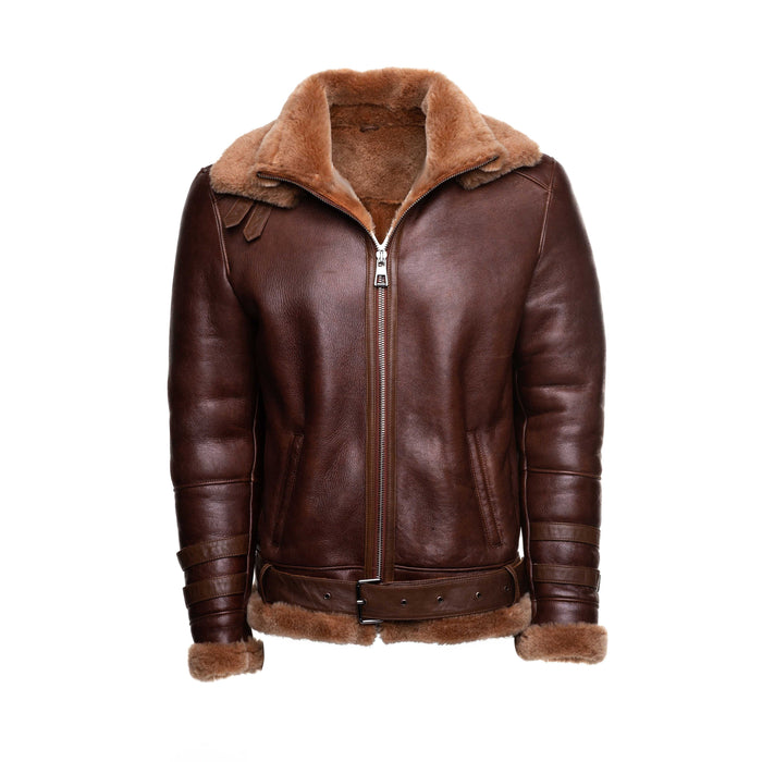 Phan's Two-Tone Brown Aviator bomber shearling jacket with a waist belt