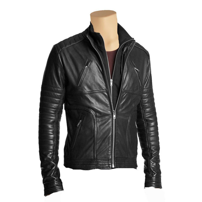 Plain black jacket with straight collar